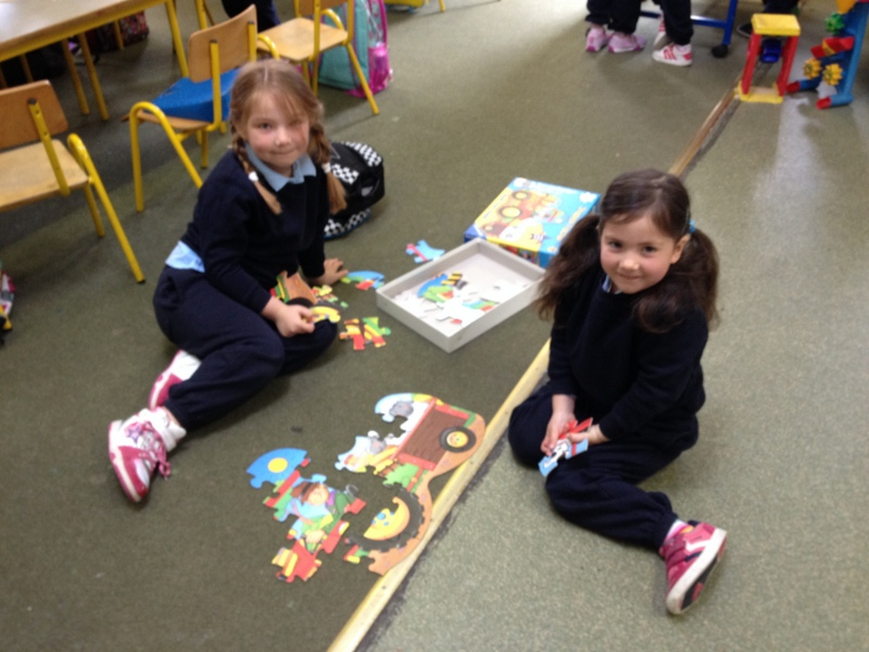 We worked together to build a farm jigsaw!
