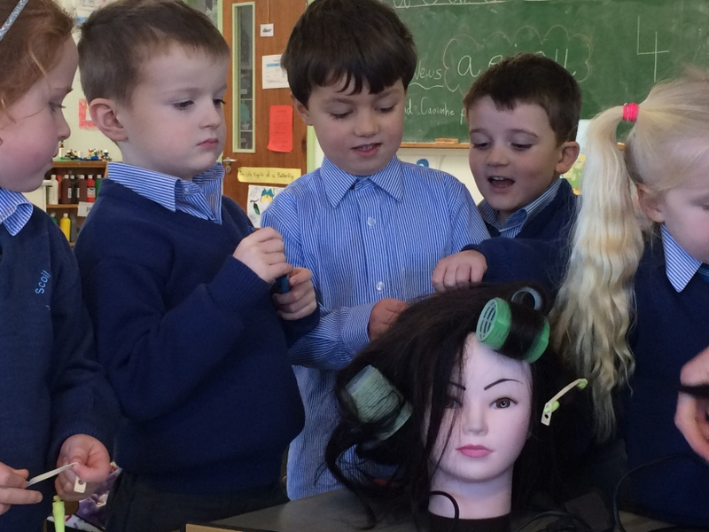 We had fun trying to put rollers on the doll's head!